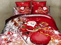 Wholesale piece Organic Cotton D Bedding Sets Christmas Gift Bed Linen Xmas Bed Duvet Cover Set Santa Claus Duvet Doona Cover Bedclo