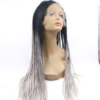 Precio de Trenzas grises oscuros-Pelucas de cabello negro mujeres ombre negro gris oro marrón oscuro raíz encaje front box trenza sintética peluca africa american black woman brasileño