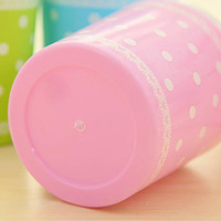 Wholesale New Arrival Lovely Lace Polka Dot Swing top Desktop Storage Creative Fashion Mini Lidded Trash Can