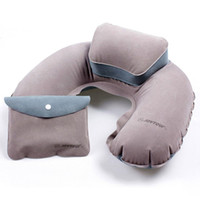 air plane kits - Travel Pillow Portable Inflatable Neck Pillow U Shape Blow Up Flocking Camping Kits Plane Hotel PVC Air Travel Accessory