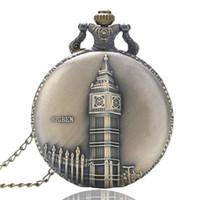 ben necklace - Antique Retro Bronze Copper Big Ben London Souvenir Quartz Pocket Watch Clock Hour Necklace Pendant Chain Xmas Gifts P82
