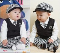 american college boys - Infant Thanksgiving Day clothing sets kids Boutique hot selling College boy wind suit jacket pants vest tie Hat baby autumn outfit