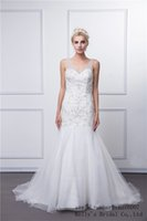 Wholesale KB16007 Beaded Appliques Bridal Gowns With Organza Long Train Latest Designs Sexy Trumpet Wedding Dress In StockRomanticLadiesModern wedding