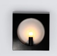 Wholesale simple fashion wall lights color white black round square E27 material iron lightbody hardware decoration home office hotel