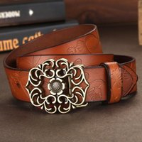 Wholesale The New Belt Ms Han Edition National Wind Wide Leather Belt Leather Belt For Women Lotus Leaf Buckle Restoring Ancient Ways