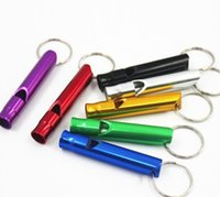 Wholesale 100 piece CM Emergency Hiking Camping Survival Aluminum Whistle Key Chain Assorted colors