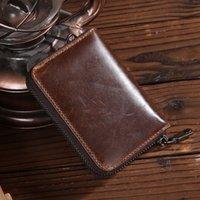barrel organ - Mens Genuine Leather Card Holder Wallets Small Great Quality Male Pillow Purse Fashion Organ Vintage Zipper Credit Card Bag