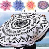 Wholesale Round Beach Towel Mandala Tapestries Microfibre Patterns Bohemian Wrap Bikini Cover up Beachwear Bath Throw Shawl Rugs Tablecloths ft