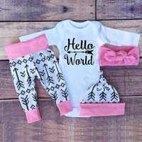 Wholesale Kids Fashion Outfits Suits Newborn Girls Gold Letter Romper Pants Headband Bodysuits Baby Girl Clothing Sets