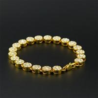 al por mayor pulsera hombres bling-El oro de los hombres plateó la cadena 8 de la pulsera de la manera