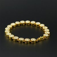Wholesale Men s Gold Plated Fashion Bracelet Chain quot Iced out Bling Rhinestone Row Round Hip Hop Link Bracelet Fashion Jewelry