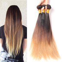 Wholesale 1 piece Cheap A Peruvian Ombre Hair Bundles Wefts Straight Ombre Hair Extensions Straight Human Hair Weaves B