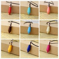 acrylic cones - Necklaces Pendants Hexagonal Cone Acrylic Rock Natural Crystal Quartz Healing Point Chakra Stone Long Charms Chains Necklaces For Women