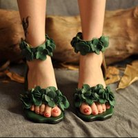 Wholesale Artmu Women Shoes Handmade Flower Sandals Thick Heel Cowhide Women s Shoes Short In Size Green