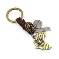 australia zinc - Key Accessories Retro Bronze Alloy Australia Map Pendant Genuine Leather braid Keychain key rings Creative Gifts