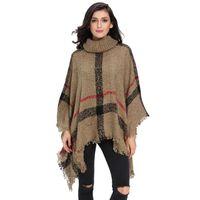 Wholesale Khaki Black Red Grey Winter Women Turtleneck Batwing Fringed Stitching Irregular Sweater Poncho Shawl Autumn Pullover