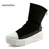 Venta al por mayor-Nueva Owen zapatos de los hombres Alto-TOP tobillo de lujo de los amaestradores de 8 cm de altura Aumento de la plataforma de botas de encaje-up casual Zip zapatos Negro Blanco