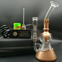 Wholesale DHL free portable E Digital Nail kit D electric dab nail with copper plating water pipe honeycomb perc functions oil rigs