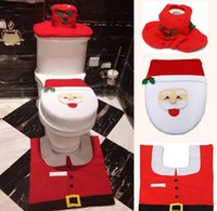 adding toilet - Christmas gift Hot money Santa Claus Toilet sets Plus foot pad Add the water tank cover Tissue coverChristmas toilet set