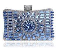 Wholesale 6 Colors Luxury Handbag Lady Glass Diamond Flower Evening Bag Top Quality Wedding Party Bridal Clutch Purse Chain Shoulder Bag