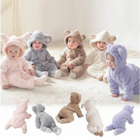 animal modeling - New baby animal modeling one piece jumpsuits winter cotton cute romper kids boys girls Hooded climbing clothing C1679