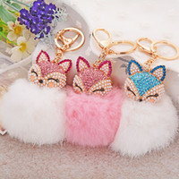 Wholesale 12 Colors lovely Genuine Leather key rings Fox Fur Ball Plush Car Key Rings Bag Pendant Car Keychains