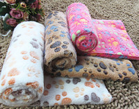 Blankets & Throws animal fleece throws - Cute Warm Pet Bed Mat Cover Small Medium Large Towl Paw Handcrafted Print Cat Dog Fleece Soft Blanket Puppy Winter Pet Supplies free shippin