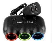 Wholesale 5V A Dual USB Ports V V Car Cigarette Lighter Splitter USB Super Power Adapter Charger W For iPhone Samsung MP3 MP4