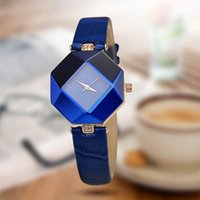Wholesale high quality new color jewelry watch fashion gift table women Watches Jewel gem cut black surface geometry wristwatches