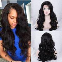 Célébrités de couleur naturelle des cheveux Avis-Celebrity style Perruques synthétiques loose body wave Perruque de cheveux Natural black 1B couleur avec bangs latéraux pelucas femmes noires pleines perruques