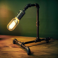 Wholesale New Arrival High Quality Loft Vintage E27 Edison Bulb Table Lamp Dimmable Water Pipe Light Home Bar Decor