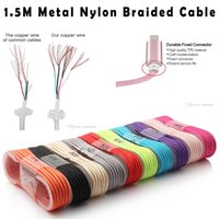 Lightning For Motorola  Hot Sale Strong 1.5M IP5 IP6 IP7 Micro USB Cable Aluminum Metal Head Nylon Weave Data Sync Charger Charging Cables Wire Cord