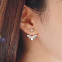 Wholesale 1 Pair Fashion Earing Big Crystal Rose Gold Silver Ear Jackets Jewelry High Quality Leaf Ear Clips Stud Earrings Fsor Women