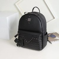 Wholesale Hot selling Pvc leather rivet bag backpack schoolbag boys girls loves bags handbags With Dog chain pendant