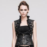 best leather vests - Steampunk Women Leather Vests Brush Color Thoracotomy Waistcoat Adjustable Waist Best Casual Vests Sale Online