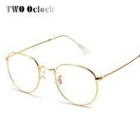 Vente en gros- TWO Oclock Fashion Gold Metal Frame Lunettes pour femmes Femme Vintage Glasses Clear Lens Cadres optiques oculos de grau 3447