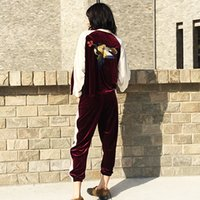 Wholesale 2016 autumn Korean embroidery bird stitching spell color loose long sleeved velvet leisure sports suit female
