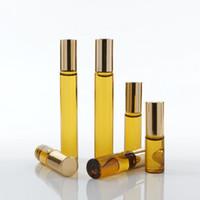 amber fragrance - Mini Roll On Glass bottle fragrance PERFUME Amber Brown THICK GLASS BOTTLES ESSENTIAL OIL bottle Steel Metal Roller ball F201795