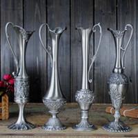 aluminum flower vases - Decoration big Metal selling decoration Hand Hammered Bless hot pewter plated metal flower vase for home decoration factory Arts