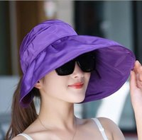 Summer Fashion Women Wide Brim Roll Up Vider Top Sun Beach Hat Anti-UV visières Cap Flex pliable couleurs