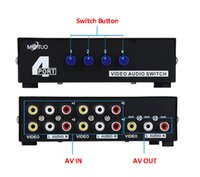 audio video switch - 4 Way Composite RCA AV Switch Audio Video Switcher Selector Box In Out for HDTV LCD Projector STB DVD