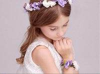 Wholesale Children s wedding hair ornaments girl flower hair band bracelet wrist flower flower flower wreath bridesmaids bridesmaids