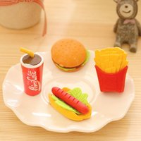 Wholesale x novelty KFC Burger coke fries shape rubber eraser kawaii stationery school supplies papelaria gift for kids
