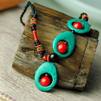 Wholesale green turquoise pendant necklace for women rope chain red natural stone water drop ethnic stlye vintage jewelry fashion new arrival
