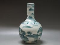 Wholesale China white porcelain Green glaze Vase painted Landscape boat Birds Kangxi mark