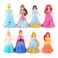 belle fingers - 8pcs set Princess Elsa Anna Aiel Snow White Aurora Belle Cinderella Figures Toys Dress Up PVC Action Figure Doll Model Gift E