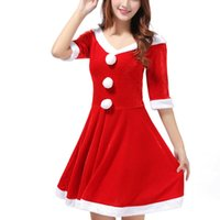 Mode cosplay Costumes Femme Robe Rouge Noël Santa Claus Uniforme Costumes, uniformes de Noël tentation dames vêtements