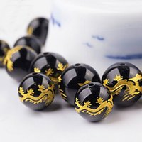 Wholesale 20pcs Natural black agate beads loose Carved dragon waist beads rosary beads Necklace bracelet DIY Accessories Fashion Gift