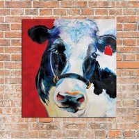 Wholesale Cow Head Pure Handpainted Animal Art oil Painting On Canvas Museum Quality custom size art sou