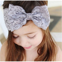 al por mayor white lace headbands for babies-Bebé Niño Accesorios Niño Cute Niños Bow Hairband Turbante Headband Headwear Lace Hairband blanco rosa púrpura rojo